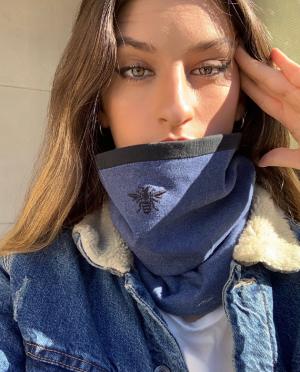 Cuello Cristal Algodón Azul Jean