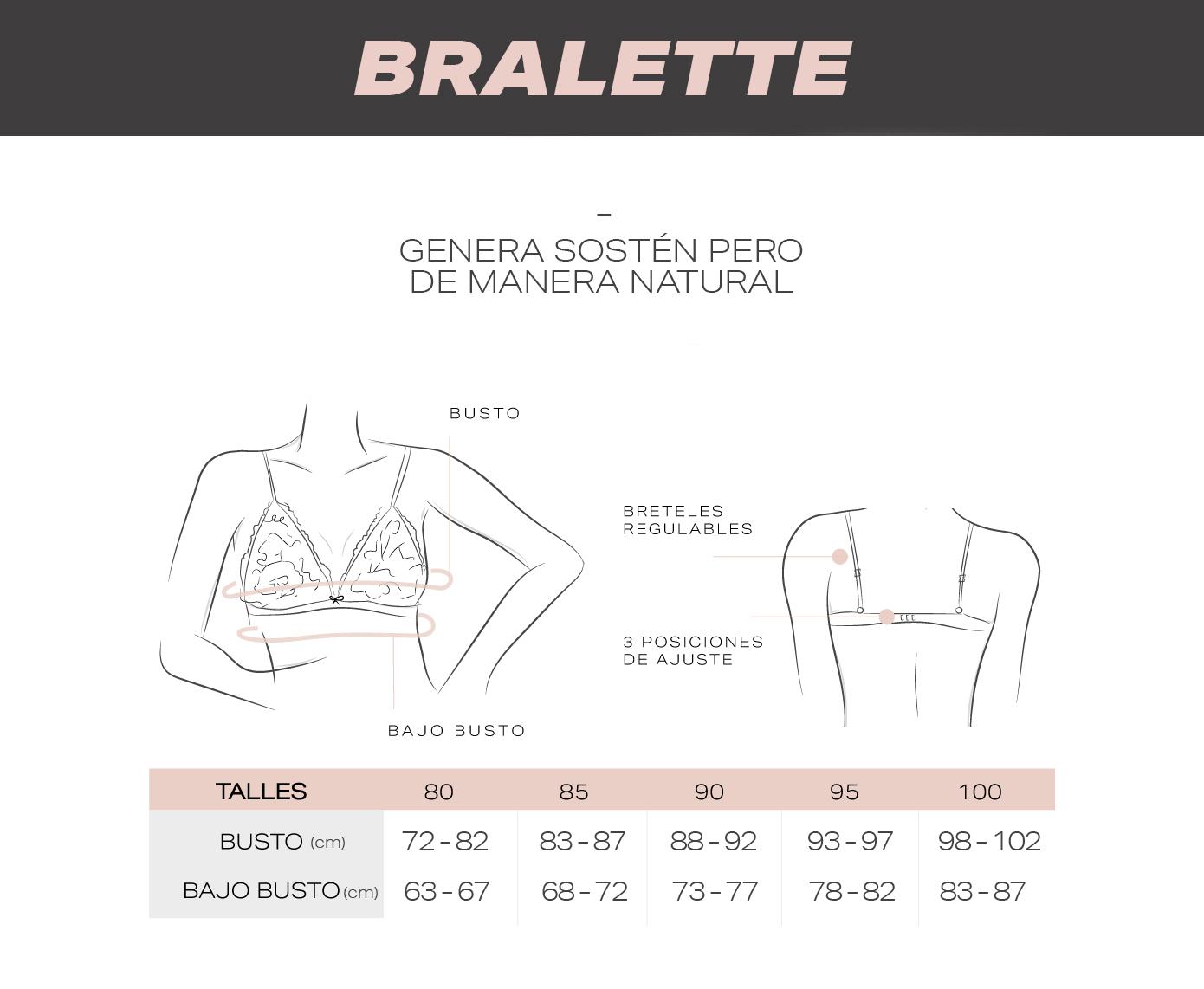 Guía de talles Corpiños Bralette